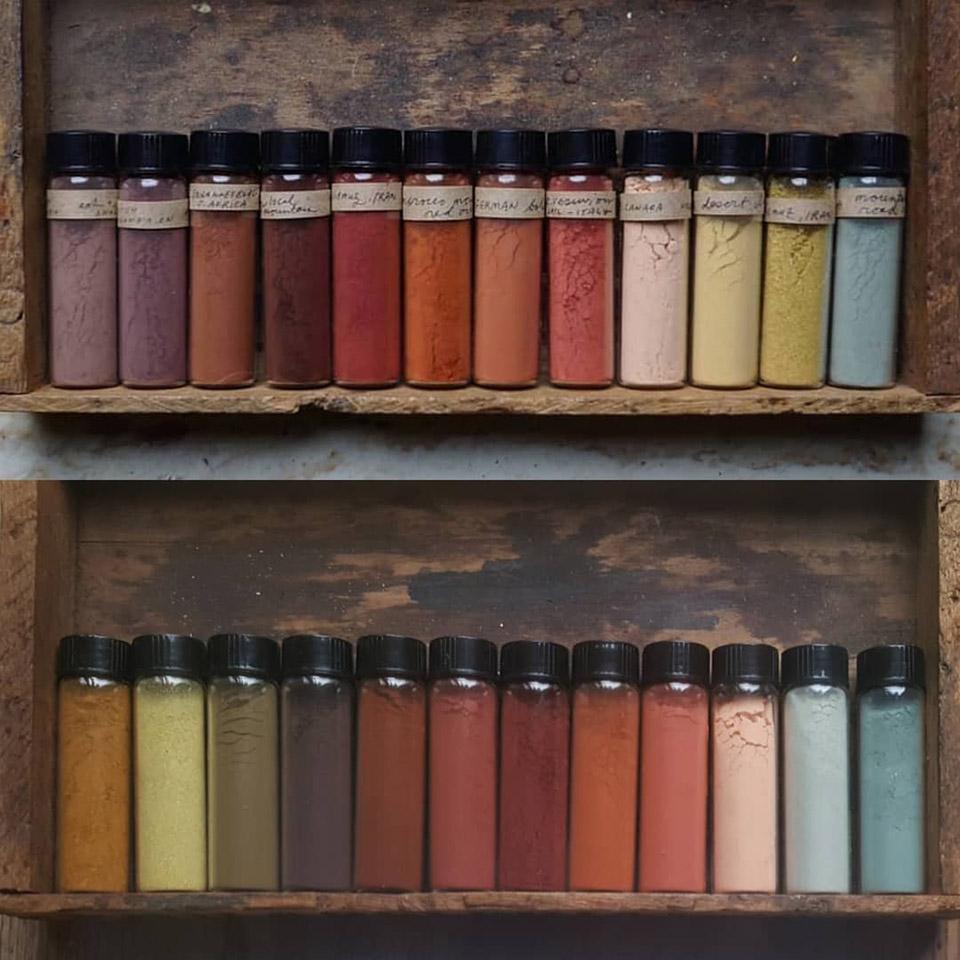 Campioni di ocra di Heidi Gustafson, la collezionista di pigmenti